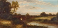 landschaft mit bach und brücke by charles robert leslie