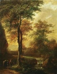 wanderer mit seinem esel auf dem weg am waldbach by jan wils