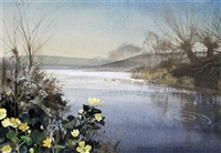 lake scene with marsh marigolds in foreground by rowland hilder and edith hilder