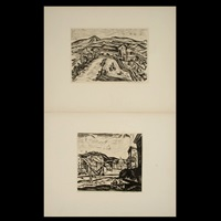 farmers in a field (+ view of a town; 2 works) by hans alexander müller