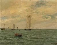 vor tiefem horizont befahren verschiedene segelschiffe, ein fischerboot und ein luxusdampfer das ruhige meer by julius friedrich ludwig runge