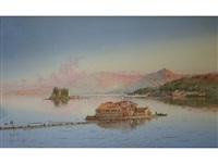 corfu; convent of the virgin mary on vlacherna and the island of pontikonisi (pair) by spyridon scarvelli