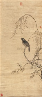 花鸟铬画轴 (sparrow in the willow tree) by liu dongyu