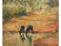 wildebeest at a pool and impala amidst trees (2 works) by zakkie (zacharias) eloff