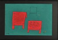 everyday things still life - red tables by le thiet cuong