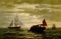 marine. dreimaster bei einem fischerboot by julius huth