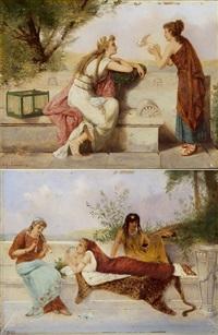 die brieftaube (+ das flötenspiel; pair) by joseph coomans