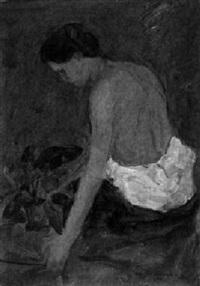 sitzender weiblicher halbakt mit blumenstock by alice lenhard-falkenstein
