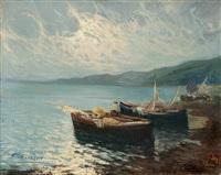 fischerboote an einer mittelmeerküste by arnaldo de lisio