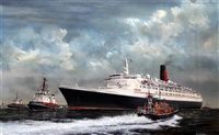 lifeboat passing the cunard liner qeii by robert g. lloyd