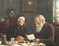 die feldpost. altes ehepaar am heimischen tisch mit einem brief des sohnes aus frankreich by carl johann spielter