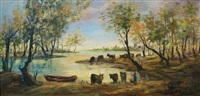 cows by the water by zvi raphaeli