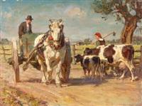 bauer mit pferdefuhrwerk und bäuerin mit ihren kühen by julius paul junghanns