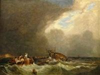 in seenot. rettung der besatzung eines untergehenden schiffes auf stürmischer see by hippolyte benjamin adam