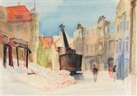 der moritzplatz in augsburg mit bagger und ruinen by otto senning