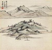 春江绿屿 (landscape) by qi kun