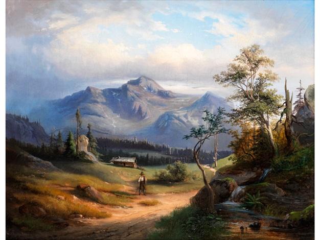 alpenlandschaft mit unter wolken hochsteigendem gebirgszug by alexandre calame
