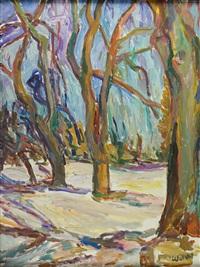 parklandschaft mit kahlen bäumen by wolfgang von websky