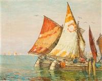 venezianische idylle mit fischerbooten by august lemmer