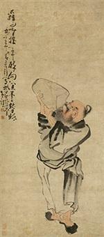 狂饮图 立轴 纸本 by huang shen