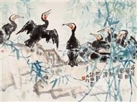 birds on branches by lin kai