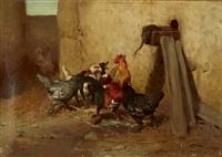 aufregung im hühnerhof by philibert-leon couturier