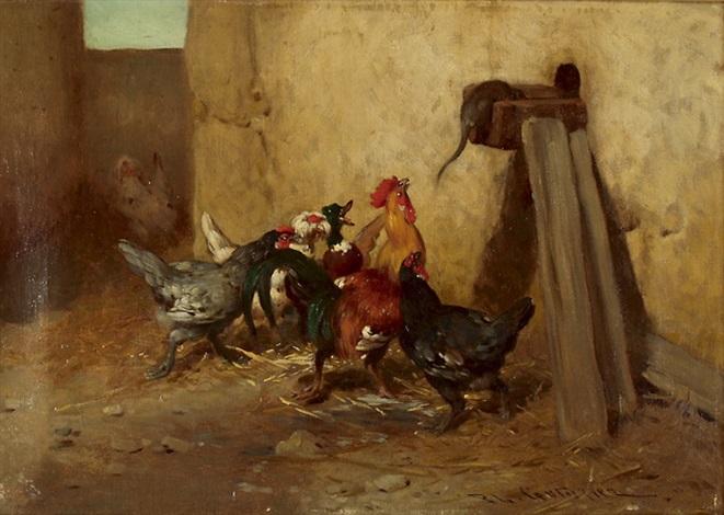 aufregung im hühnerhof by philibert leon couturier