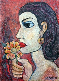 woman smelling a flower by samir rafi