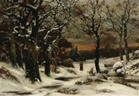 abendstimmung im winterwald. reisigsammlerin auf dem heimweg by alwin arnegger