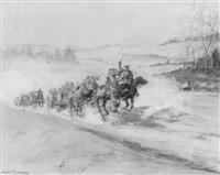 militärtross mit heranstürmenden pferdewagen und reitern by andré fournier