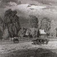 pferde auf der koppel by jurij sanin