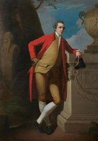 portrait of a gentleman in a red coat, buff waistcoat and breeches, holding a black tricorn hat by david allan
