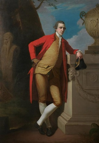 portrait of a gentleman in a red coat buff waistcoat and breeches holding a black tricorn hat by david allan