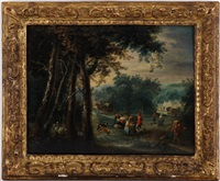 paysages animés (pair) by jan frans van bredael the elder