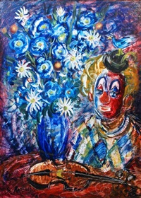 still life with violin and clown by zvi raphaeli