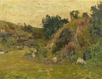 landschaft mit einem hirten und weidenden ziegen (+ blick auf idyllischen dorfteich mit enten; 2 works) by karl langhammer