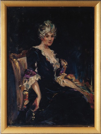 portrait of miss nellie o pevear sketch by james carroll beckwith