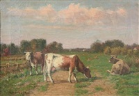 cows in the pasture by william henry snyder
