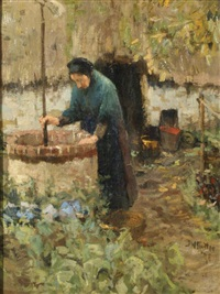 woman at a well by willy sluijter