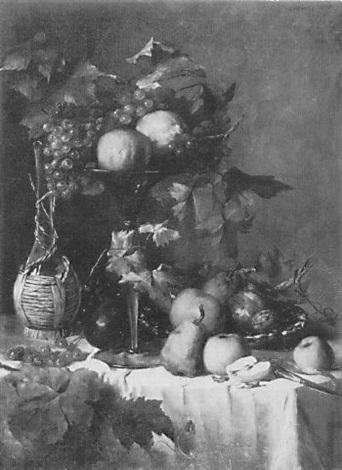 großes stilleben mit weintrauben weinkaraffe äpfeln birnen und zitrusfrüchten auf einem weiß drappierten tisch by anthonie boubong