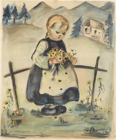 kleines kind mit blumenstrauss by mi hummel