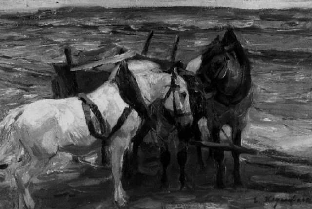 drei angeschirrte pferde mit karren in weiter landschaft by emanuel hegenbarth