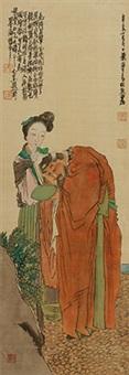 对镜簪花 镜心 绢本 by ren xiong