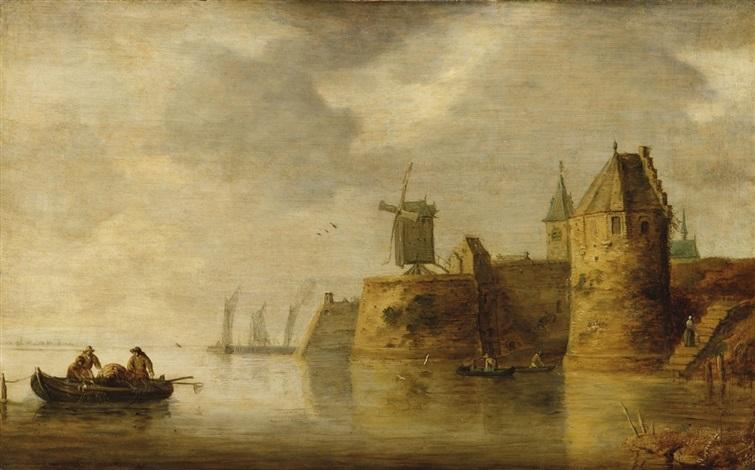 flussmündung mit windmühle und fischerbooten by frans de hulst