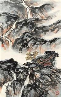 秋山飞瀑图 by xiao yong