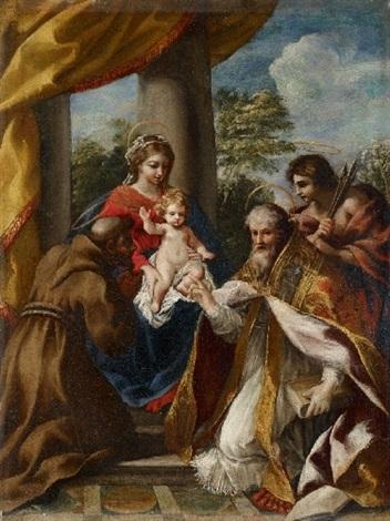 madonna mit kind und den heiligen franziskus stephan und sebastian by giovanni francesco romanelli