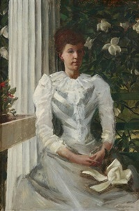 portrait of a lady in white by william de leftwich dodge
