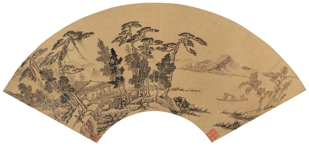 山居清赏图 hermit in mountain by zhou chen
