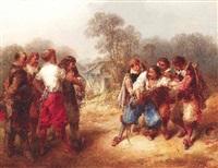 das duell. kämpfende musketiere mit ihren begleitern am waldesrand by peter rudolf karl herbstoffer