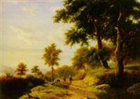 bewaldete berglandschaft. auf dem weg ein bauernpaar by arnold hendrik koning